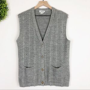 VTG || Gray Cable Knit Button Front Sweater Vest S